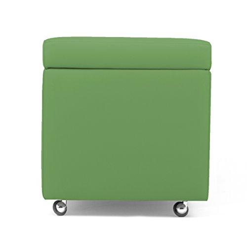 Arketicom New Pandora Swing Pouf Pouf à roulettes en simili-cuir avec espace de rangement, ameublement de la maison, repose-pieds, table basse de salon contemporaine 42x42 vert clair
