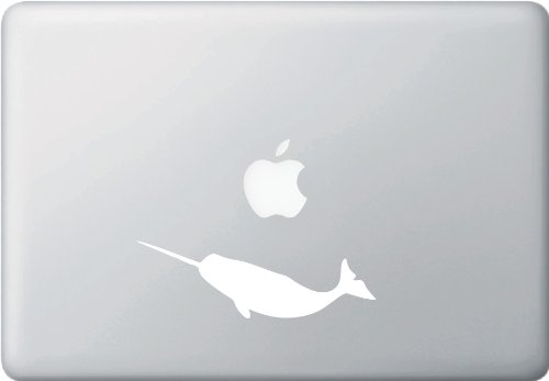 """Yadda-Yadda Design Co. Narwhal Silhouette - MacBook or Laptop Decal (5.5"""" w x 1.75"""" h) (Color Variations Available) (White)"""