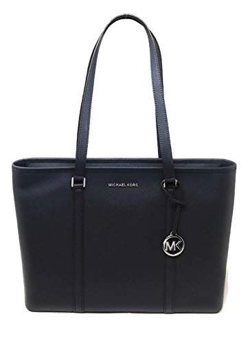 MICHAEL Michael Kors Sady Large Multifunction Top Zip Tote Shoulder Bag navy Blue Silver Hardware