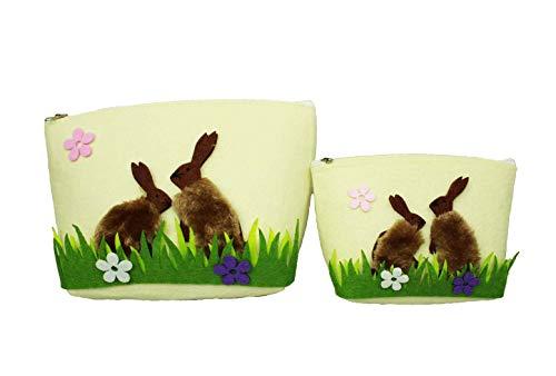 HAAC Juego de 2 cestas Decorativas de Fieltro, Cesta de Pascua, Nido de Pascua, con asa y Flores, 21 cm x 20 cm x 14 cm y 17 cm x 14 cm x 11,5 cm