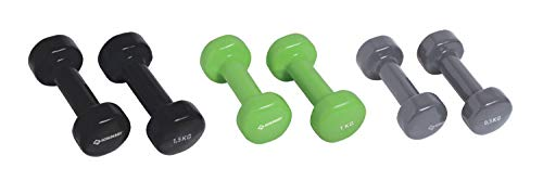 Schildkröt Fitness Set di Manubri in Vinile, in Custodia in Plastica ABS, 960010 Unisex Adulto, Verde