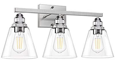 3-Light Bathroom Light Fixtures, Brushed Nickel Vanity Light Fixtures, Bathroom Wall Sconce Lighting with Clear Glass Shades, Modern Wall Lamp for Mirror Kitchen Living Room Wall Decoration (E26 Base)