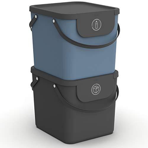 Rotho Albula 2er-Set Mülltrennungssystem 40l für die Küche, Kunststoff (PP) BPA-frei, anthrazit/blau, 2 x 40l (40.0 x 35.8 x 34.0 cm)