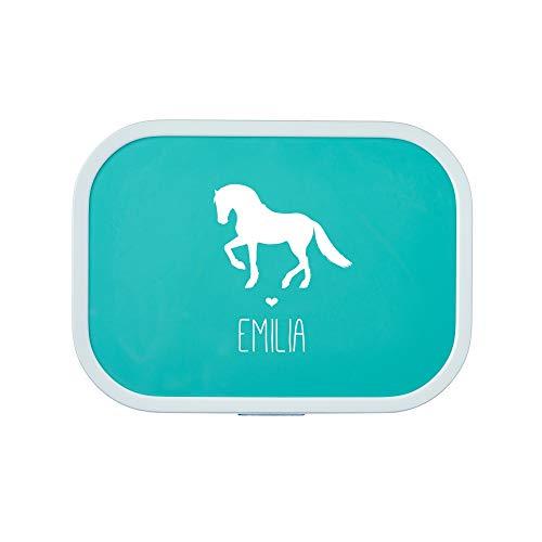 4you Design Brotdose Pferd Silhouette mit Namen   Mepal Campus + Bento Box & Gabel - Schule - Kindergarten - Snackbox - 6 Farben (Türkis)