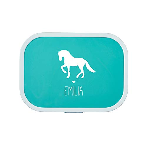 4you Design Brotdose Pferd Silhouette mit Namen | Mepal Campus + Bento Box & Gabel - Schule - Kindergarten - Snackbox - 6 Farben (Türkis)