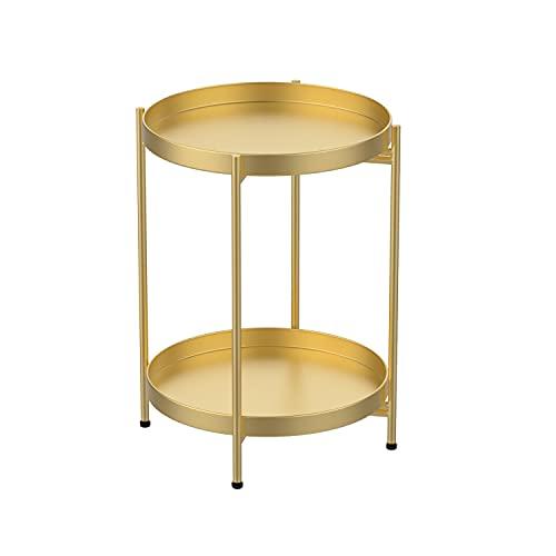 H HOMEWINS Mesa auxiliar de metal redonda plegable con bandeja extraíble, diámetro...