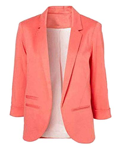 ours blazers for women Youngate Women's Casual Rolled Up 3/4 Sleeve Slim Office Blazer Jacket Suits