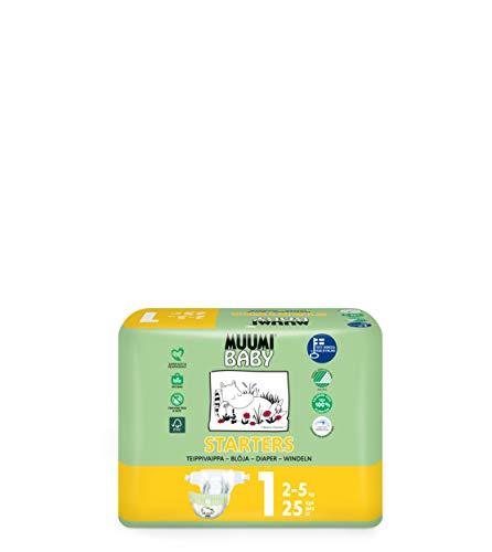 Muumi Baby Neugeboren Öko Windeln Größe 1, 2-5 kg 25, Empfindliche Premium Windeln