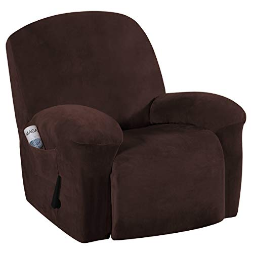 Stretch Recliner Covers with Pockets 1-Piece Recliner Chair Slipcovers Furniture Cover for Recliner Couch Cover Velvet Plush Slipcover Anti-Slip Slipcover Highly Fitness(Recliner, Brown)