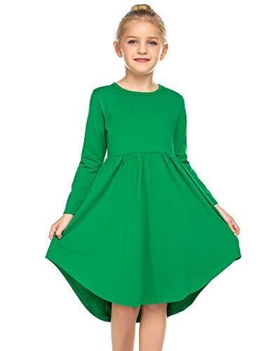 Parabler Bricnat Mädchen Kleid Langarm Prinzessin Kleid festlich Kleid Plissee Casual Herbst Winter Kinder Kleid mit Unregelmäßiger Saum Grün Gr.130