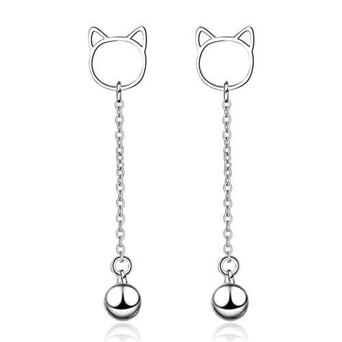 Yikoly Damesoorbellen zilver 925 eenvoudige kat lang met bel studs oorbellen mode oorbellen voor dochters moeder vrouw vriendin