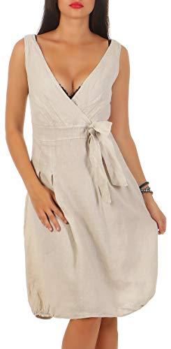 Malito Damen Leinenkleid im Klassik Design   Elegantes Cocktailkleid   schickes Abendkleid   Partykleid - A Linie 8147 (beige, S)
