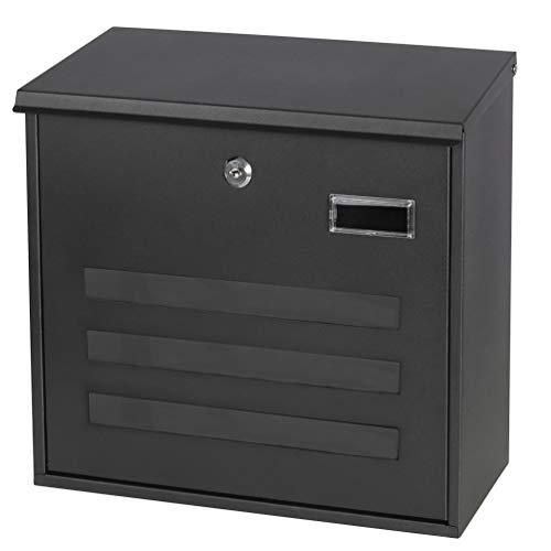 Mailboxes with Key Lock, Wall Mounted Large Capacity Mailbox, Black, 13 3 5  x 12 4 5  x 4 3 10