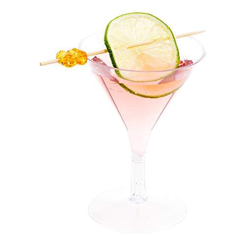 2 Ounce Mini Martini Glasses, 100 Disposable Plastic Martini Glasses - Recyclable, Crack Reistant, Clear Plastic Small Martini Glasses, For Parties or Weddings - Restaurantware