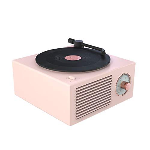 Monllack Altavoz para Tocadiscos de Vinilo, Altavoz para Tocadiscos de Vinilo, inalámbrico, portátil, Mini Altavoz atómico Retro de Acero, grabadora de Casete de Radio (Rosa nórdico)