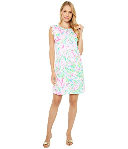 Lilly Pulitzer Women's 19 1/2″ Straight Fit, Sleeveless Dress with a Crew Neckline and Eyelet Sleeves