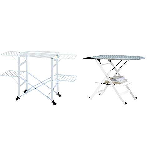 Foppapedretti Gulliver Tendedero, Aluminio, Nylon, De plastico, Alluminio, 9x97x54 cm + Assai Tabla de Planchar, Blanco