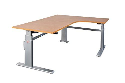 Preisvergleich Produktbild Dila GmbH Schreibtisch Winkelschreibtisch Eckschreibtisch elektrisch höhenverstellbar Bürotisch Büromöbel Arbeitstisch Workstation (Lichtgrau)