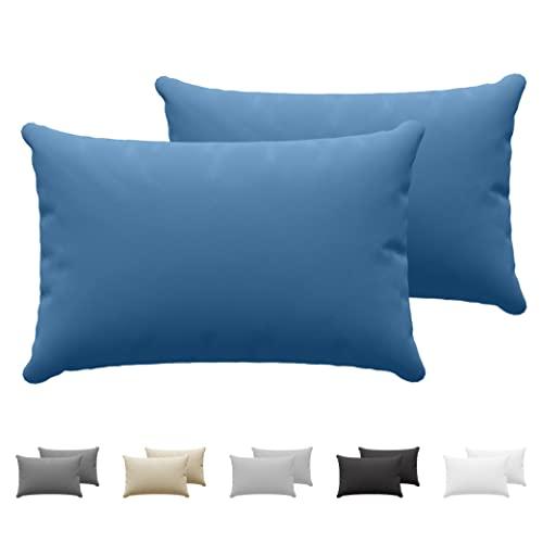 Set mit 2X Baumwolle Kissenbezüge 50 x 70 cm - 100% Jersey Baumwolle 150 g/qm - Kissenhülle - Kissenbezug - Resistent und Hypoallergen - Blau