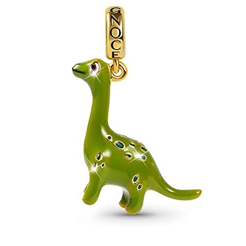 GNOCE Brachiosaurus Pendant Charm Sterling Silver Green Dinosaur Dangle Charm Fit Bracelet/Necklace For Women Girls Wife Daughter