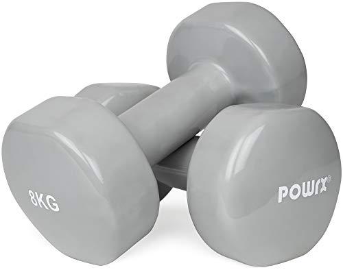 POWRX Vinyl Hanteln Paar Ideal für Gymnastik Aerobic Pilates 0,5 kg – 10 kg I Kurzhantel Set in versch. Farben (2 x 8 kg (Grau))