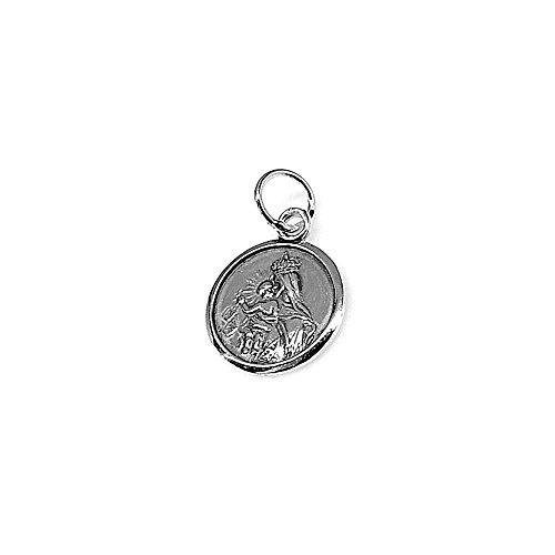 Colgante Plata Ley 925M Medalla Virgen Carmen 15mm. Mujer