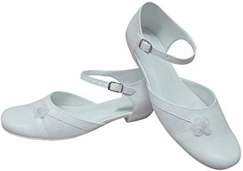 deine-Brautmode Zapatos infantiles de comunión niña flores comunión zapatos comunión interior cuero, color Blanco, talla 38 EU