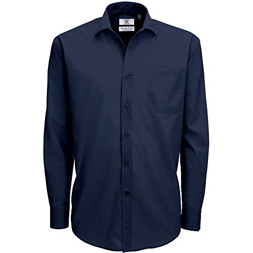 B&C Mens Smart Long Sleeve Poplin Shirt Camicia Business, Blu (Navy 000), 19 (Taglia Produttore: XXX-Large) Uomo