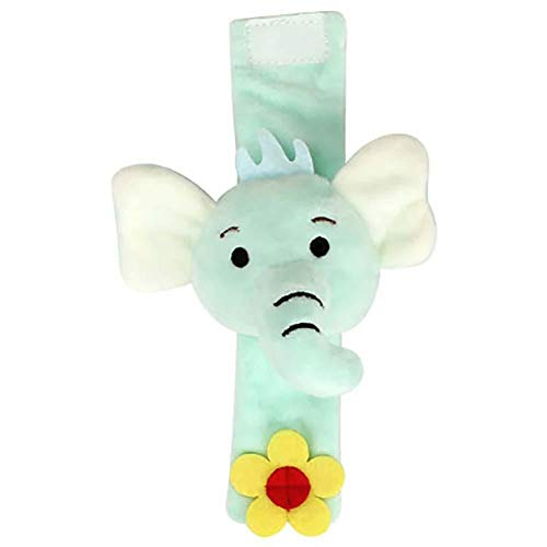 Da.Wa Infantil Piezas Animal del Bebé de la Muñeca de la Muñeca Traqueteos Correa de Muñeca Suave Juguete Educativo para Bebés (Elefante Azul)