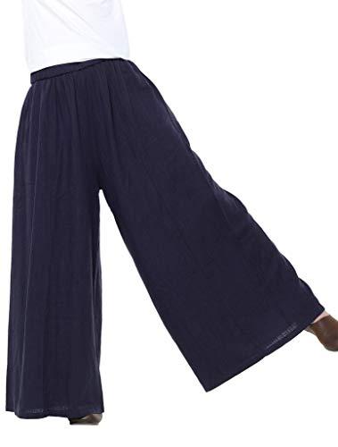 Adelina Brede Leg Comfortabele damesbroek, linnen, breedte, been, elastische band, modieuze completibroek met zakken, eenkleurig, los