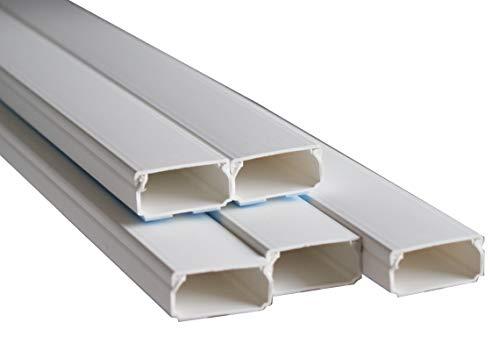 Kabelkanal Kunststoffkanal verschiedene Größen Verdrahtungskanal Leitungskanal reinweiß mit Deckel, PVC Kanal (10m 40x20)
