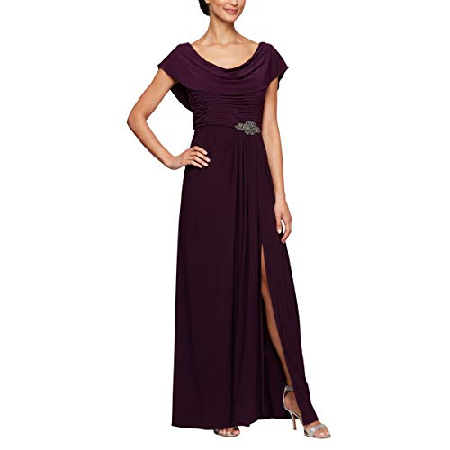 Alex Evenings Women's Long Cowl Neck A-Line Dress, Eggplant, 12