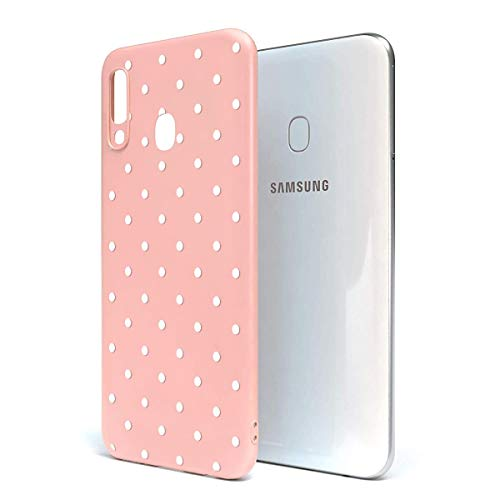 ZhuoFan Funda Samsung Galaxy A40, Cárcasa Silicona Rosa con Dibujos Diseño Suave Gel TPU Antigolpes de Protector Piel Case Cover Bumper Fundas para Movil Samsung GalaxyA40, Lunares Blanca