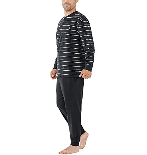 El Búho Nocturno - Pijama Hombre Largo Tapeta Punto Rayas Negro 100% algodón Talla 7 (XXXL)