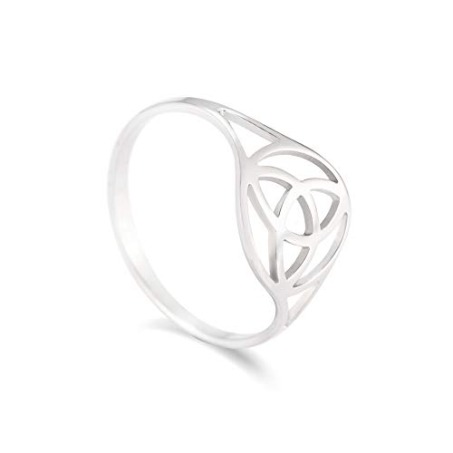 VASSAGO Stainless Steel Irish Triquetra Trinity Celtic Knot Ring Hollow Out Design High Polished Round Charm Bands for Men Women Teens (Size 7 (US Standard))