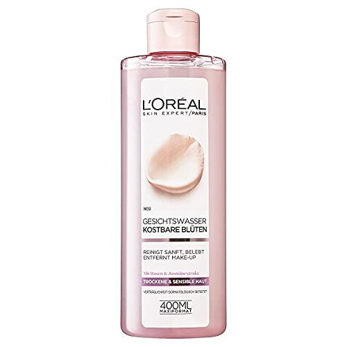 L'Oréal Paris Gesichtsreinigung, Erfrischendes Gesichtswasser und Make-Up Entferner zur Reinigung und Pflege, Rosen- und Jasmin Extrakt, 1 x 400 ml