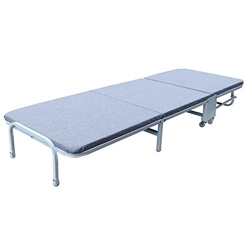 Klappbett Gästebett Klappbar Metallbett Erwachsene Raumsparbett mit Stahl-Rahmen, inkl. Matratze L180 x W60 x H25cm