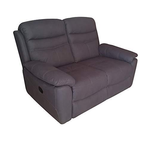 R R DESIGN Divano a 2 posti Relax Motore Elettrico reclinabile motorizzato Tessuto Modello Leone Colore Nero