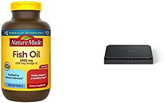 Nature Made Fish Oil 1000 mg, 250 Softgels Value Size, Fish Oil Omega 3 Supplement for Heart Health + Amazon Dash Smart Shelf (Small - 7