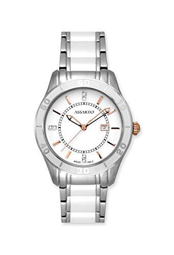 ASSARTO Watches ASD-5020TR-WHT Keramikuhr für Damen mit Schweizer Uhrwerk und Saphirglas, Damenuhr, Armbanduhr, Luxusuhr, weiße Uhr, Edelstahluhr, Quarzuhr