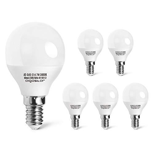 Aigostar - Bombilla LED A5 G45, E14 7W, 520 lúmenes, Esmerilada, no regulable, casquillo delgado, luz cálida 3000K, pack de 5