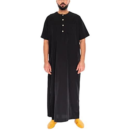 男性長袖無地ローブ-イスラム教徒カフタンアバヤアラビアドバイ中東男性服ジュバトーブプラスサイズ (Color : Noir, Size : XXL)