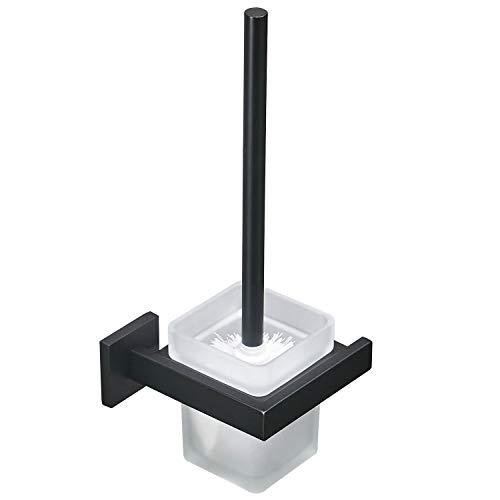 Toilet Brush with Holder Wall Mounted Stainless Steel Holder Glass Canister with Toilet Brush Luxury Toilet Brush Holder Set for Bathroom, Matte Black GT21109B