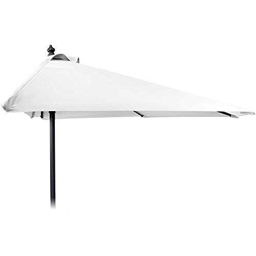 Sombrilla 250cm Aluminio semicircular Color Blanco Negro Gris Crema o Pardo Jardín Pantalla, weiß