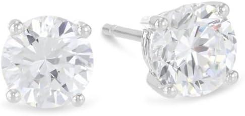 1/3 Carat Solitaire Diamond Stud Earrings Round Brilliant Shape 4 Prong Push Back (D-E Color, VS1-VS2 Clarity)