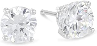 3/4 Carat Solitaire Diamond Stud Earrings Round Cut 4 Prong Push Back (K-L Color, I1-I2 Clarity)