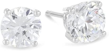 1 Carat Solitaire Diamond Stud Earrings Round Brilliant Shape 4 Prong Push Back (L-M Color, I1-I2 Clarity)