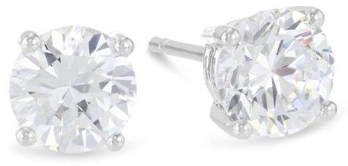 1 Carat Solitaire Diamond Stud Earrings 14K White Gold Round Brilliant Shape 4 Prong Push Back (L-M Color, I1-I2 Clarity)