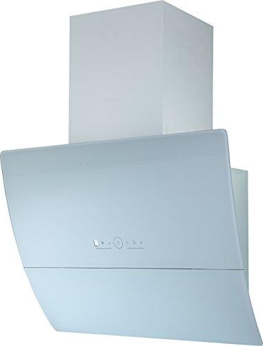 Dunstabzugshaube Kopffreihaube Wandhaube Saturn Edelstahl Schwarz/Weißglas 60/90 cm Abluft (60, weiß)