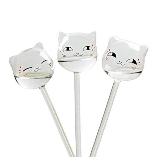 Calayu 3 Stück Katzenförmige Bewässerungskugeln, Glaspflanze Bewässerungskugeln Selbstbewässerungsgerät für den Garten, Topfpflanzen, hängende Pflanzen